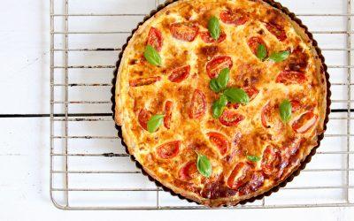 Glutenvrije quiche met geitenkaas en tomaat